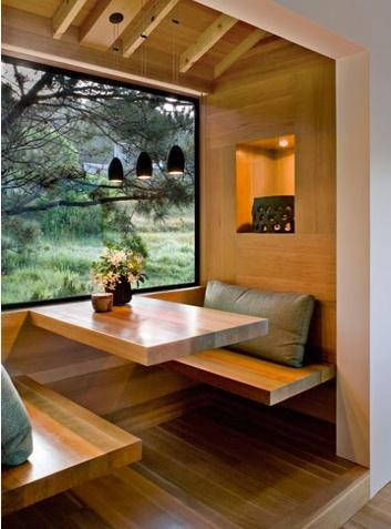 Tiny House Design  This little dining space would fit nicely in a tiny house across from a little kitchen. I really like how the window opens up the tight space.     http://remodelista.com/posts/architect-visit-turnbull-griffin-haesloop-at-sea-ranch-