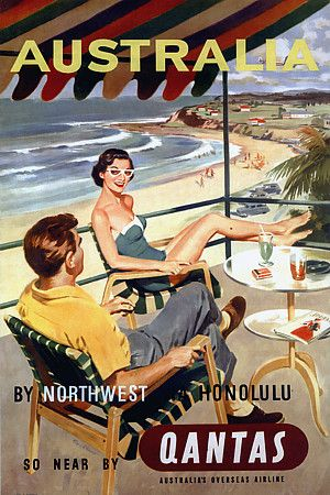 Vintage Travel Poster - Australia - That doesn't look very Aussie to me. He should be in shorts and thongs drinking a beer in a stubby and the cars don't look like Holdens to me!