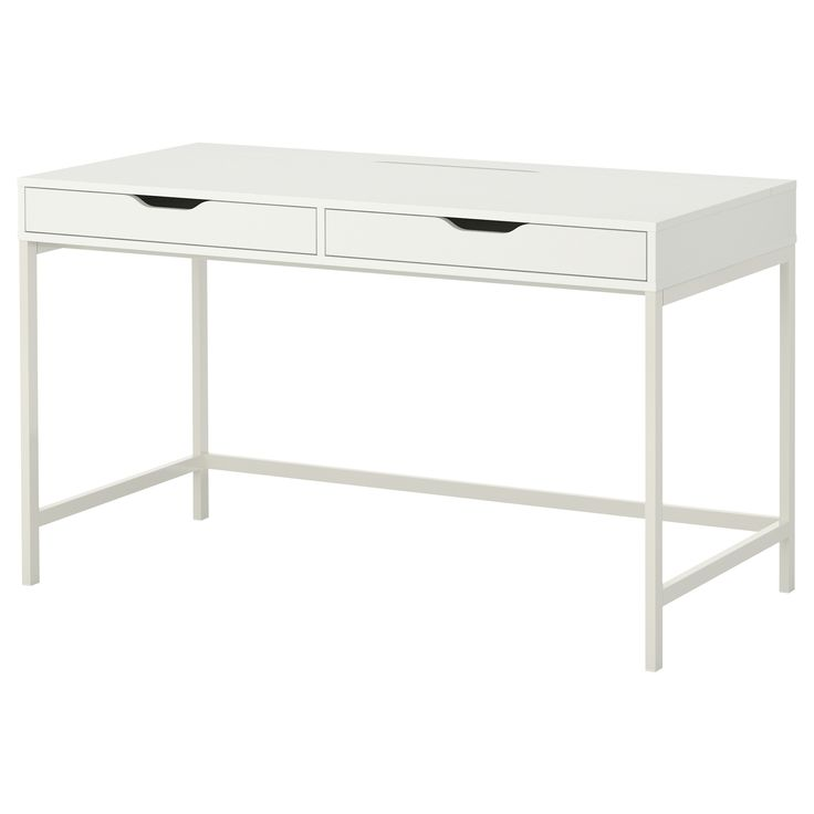 IKEA - ALEX, Desk, white, , Built-in cable management for collecting cables and cords; out of sight but close at hand.Drawer stops prevent the drawers from being pulled out too far.Can be placed in the middle of a room because the back is finished.