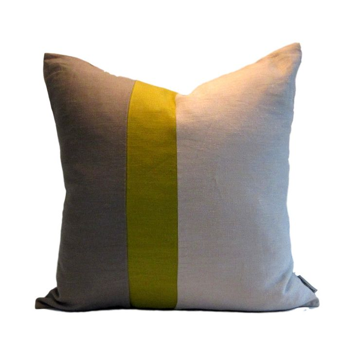 Instantly update your decor with our contemporary linen Gray Chartreuse Natural Colour Block Pillow Cover