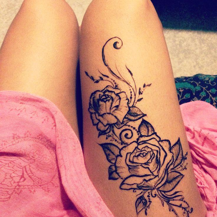 25 best ideas about tattoo cuisse on pinterest tattoos mandala tatouages de cuisse des - Tatouage femme bras rose ...