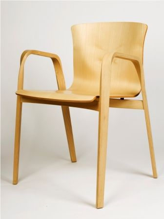 Vico Magistretti Four Cirene 03 Arm Chairs of solid steam-bent ash wood, anatomical chassis in beech plywood, with maple stained ash finish, manufactured by De Padova