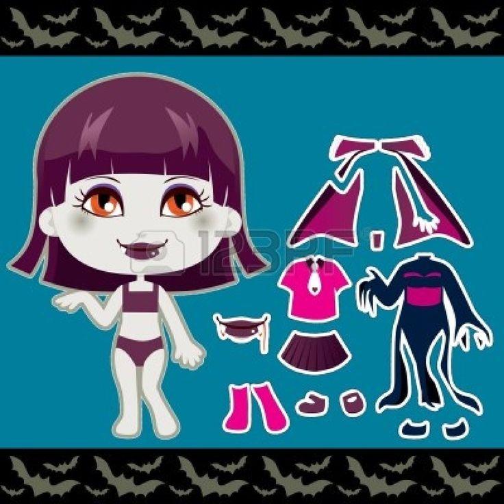 Leuk vampier mode meisje kleding Halloween Paper Doll collectie set photo