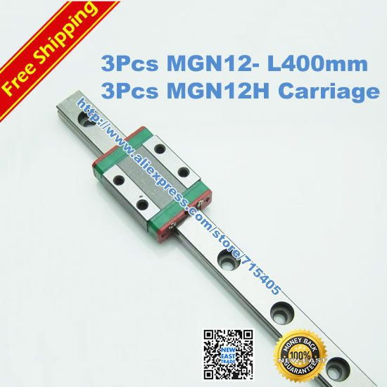 Free Shipping Kossel Mini MGN12 12mm miniature linear rail slide = 3pcs 12mm L 400mm rail+3pcs MGN12H carriage for X Y Z Axies-in Linear Gui...