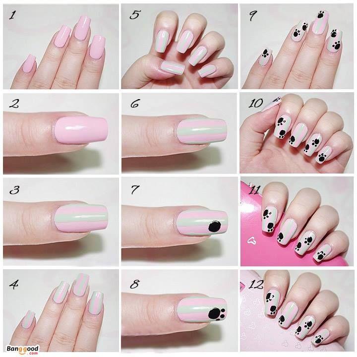 pink, footprint, cat, dog, nail art
