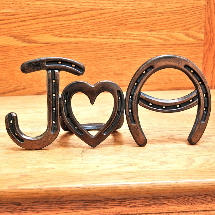 Steel iron horseshoe sign, MONOGRAM, 2 letters initials & heart, gift for wedding, bridal, anniversary, birthday gift,  MADE to ORDER. $139.00, via Etsy.