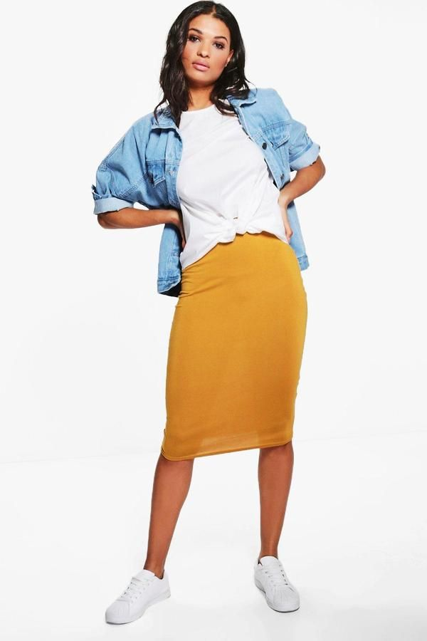boohoo Lexi Midi Jersey Tube Skirt