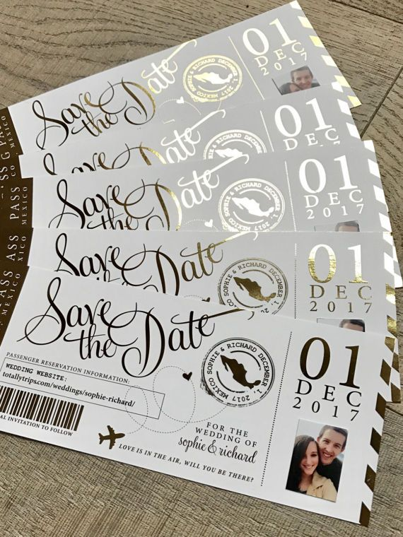 Foiled Boarding Pass Save the Dates with couple's photo