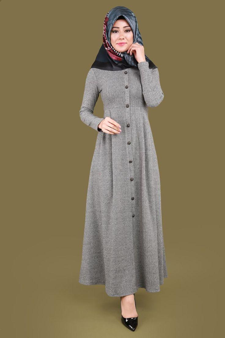 Balıksırtı Aksesuar Düğmeli Elbise  Gri Ürün Kodu: MDB3752-1--> 64.90 TL
