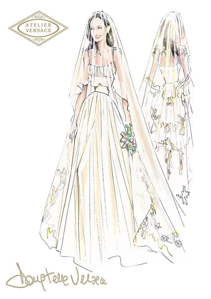 アンジェリーナ・ジョリーのウエディングドレスはヴェルサーチ。子どもたちの絵を刺繍に