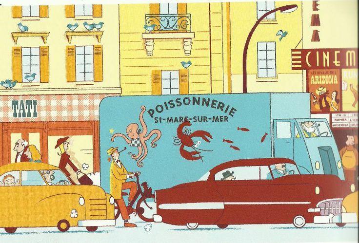 "David Merveille illustration for ""Hello Monsieur Hulot""."