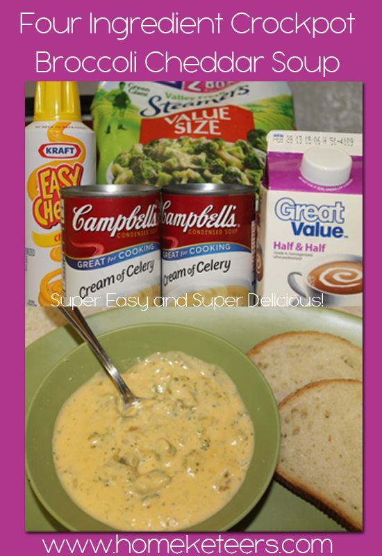 4 Ingredient Crockpot Broccoli Cheddar Soup Recipe – EASY! Seriously I made this today.  So good!!