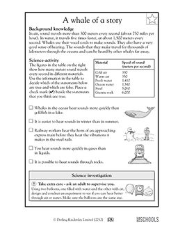3rd grade, 4th grade Science Worksheets: A whale of a ...
