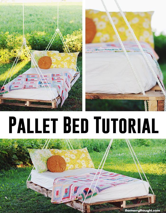How to make a pallet bed swing -- seems super easy and friggin awesome.