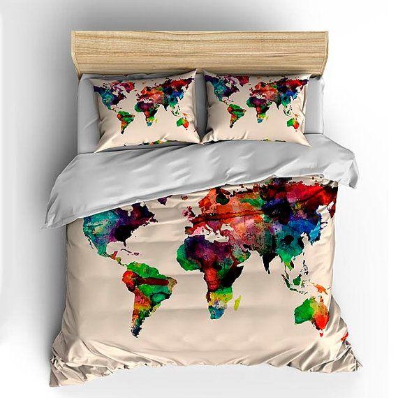 Custom Bedding Duvet Cover-Watercolors on Natural Cream World Map - Tw, Qu or Ki, Pricing Starts Shams