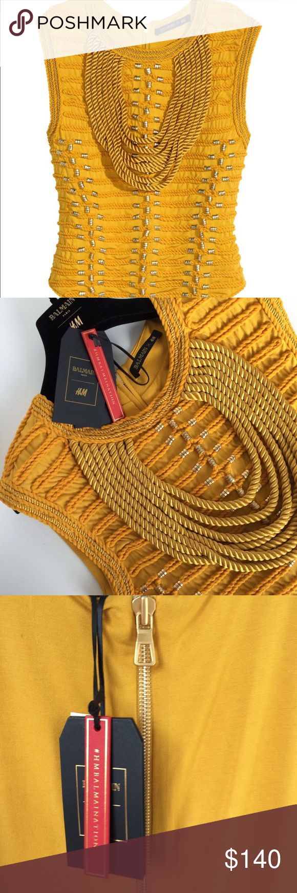 GORGEOUS H&M BALMAIN Yellow Rope Top SZ2 New with tags. Rare and hard to find. You'll love it! Will definitely last for years to come and will become a vintage piece! Balmain Tops Blouses