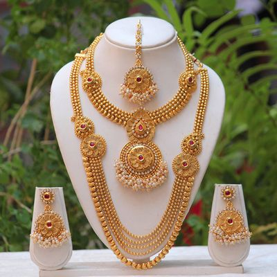 South Indian Traditional Antique Maroon Kundan Haram Set Necklaces and Necklace Sets on Shimply.com