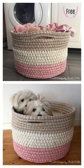 Laundry Basket With Handles Free Crochet Pattern #freecrochetpatterns #basket