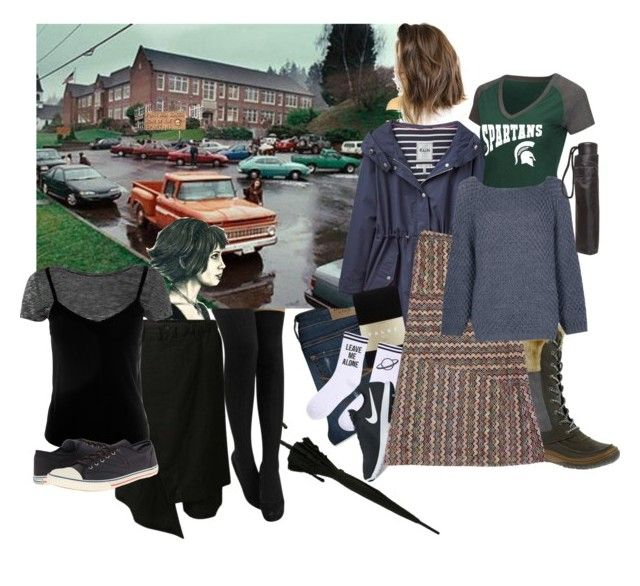 """Forks"" by amanda-anda-panda ❤ liked on Polyvore featuring Abercrombie & Fitch, Joules, Merrell, Campus Heritage, Falke, Yeah Bunny, NIKE, Trina Turk, Boohoo and Cullen"