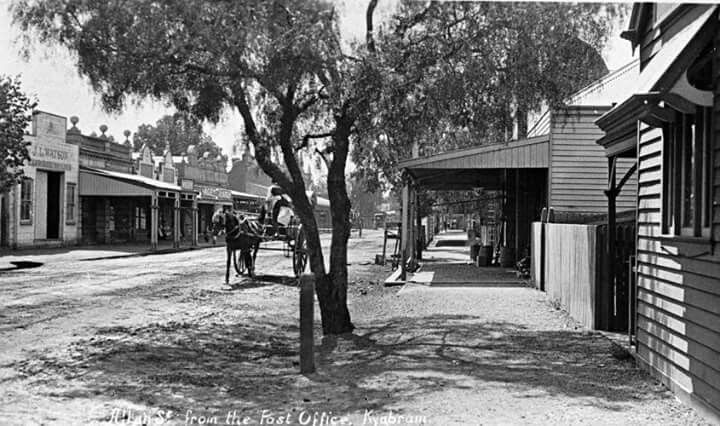 Allan St from the Post Office,Kyabram,Victoria in 1915.