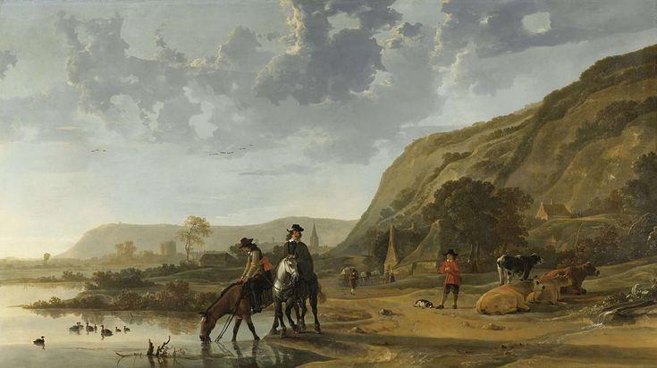Aelbert Cuyp | River Landscape with Riders, Aelbert Cuyp, 1653 - 1657 | Rivierlandschap met op de voorgrond twee ruiters, één laat zijn paard uit het water drinken. Rechts een herder die enkele koeien bewaakt, achter hem enige huizen en in de verte de torens van een stad.