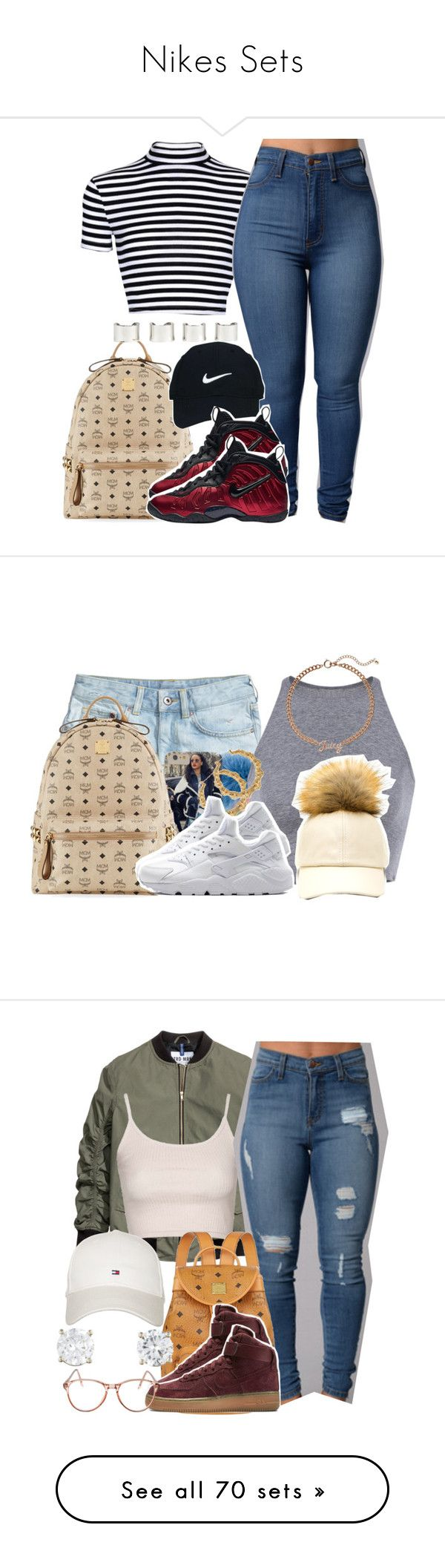 """Nikes Sets"" by luhariiee ❤ liked on Polyvore featuring MCM, Nike Golf, NIKE, Maison Margiela, AriIdeas, H&M, Fendi, Juicy Couture, Topshop and Tommy Hilfiger"