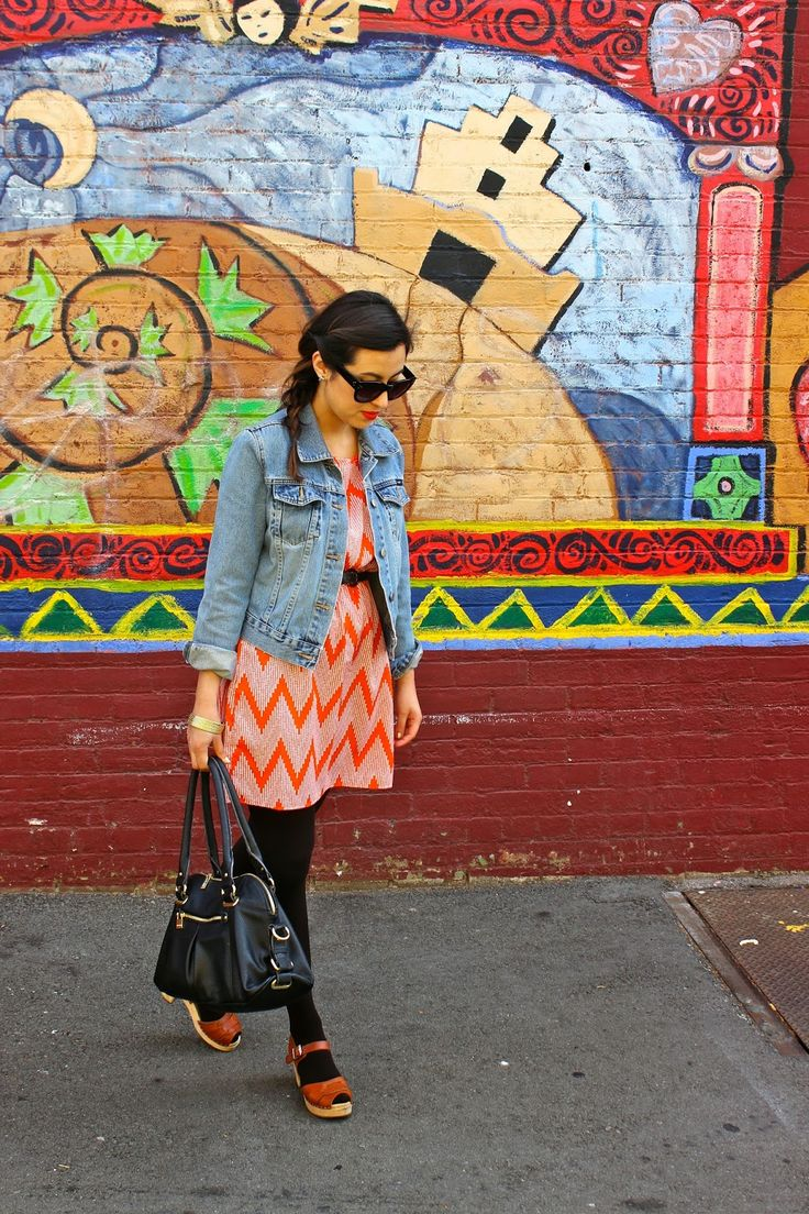 Bright Colors and Bold Prints. Pomona, CA. Orange Chevron Dress. Denim Jacket. Lotta from Stockholm Peeptoe Clogs.
