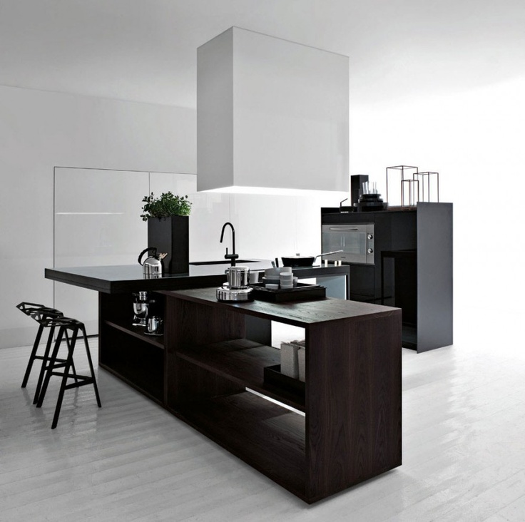 Best Kitchen Design With Black Wood Furniture And White Wall Floor