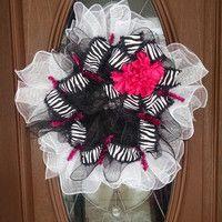"""Deco Mesh Wreath, Zebra Wreath, Year Round Wreath, Black, White & Hot Pink, Ruffle Wreath, Zebra Ribbon, 21"""" Indoor/Outdoor Wreath"""