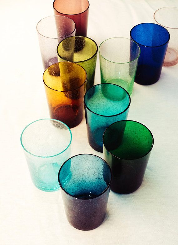 Coloured Glass Tumblers Recycled Handmade Bubble Glass Drinking Glasses Hand Blown 15 Colours Available Bubble Glass Glass Tumbler Colored Bubbles