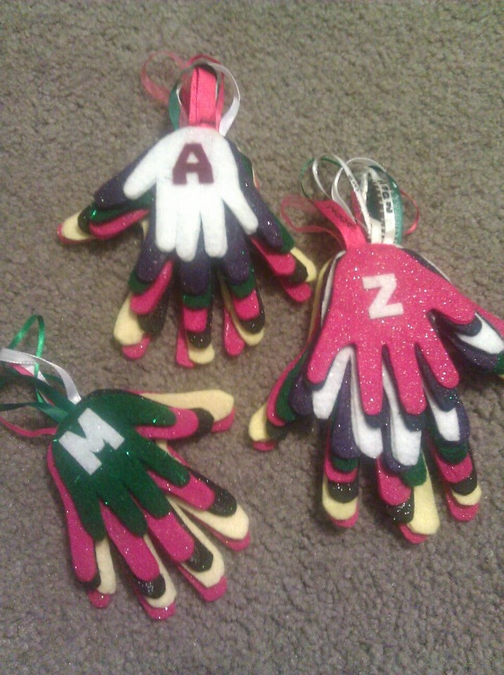 yearly hand tracing and creating a felt ornament. my kids currently look forward to this yearly!