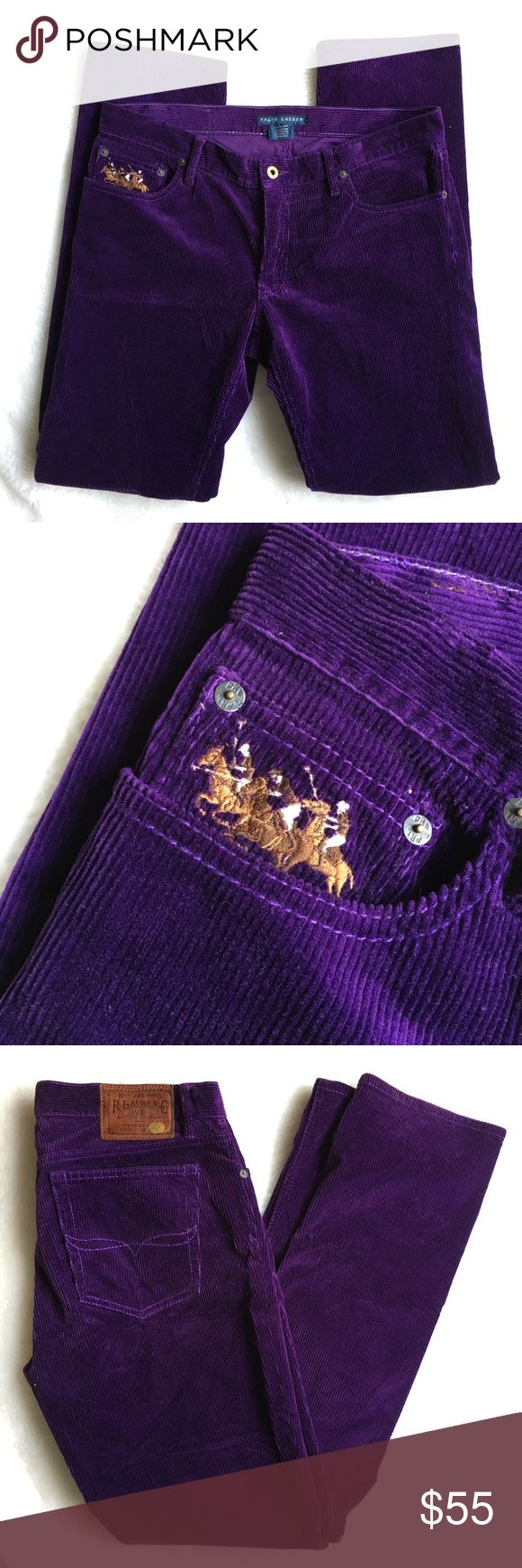 """Ralph Lauren Thompson Corduroy Purple Jeans 12 Like new Ralph Lauren Thompson Corduroy Purple Jeans 12. Rise is 8.5"""" inches. Waist is 16.5"""" inches. Inseam is 31.5"""" inches. Nice horse Embroidered detail in front pocket. Please look at pictures for better reference. Happy shopping! Ralph Lauren Jeans"""