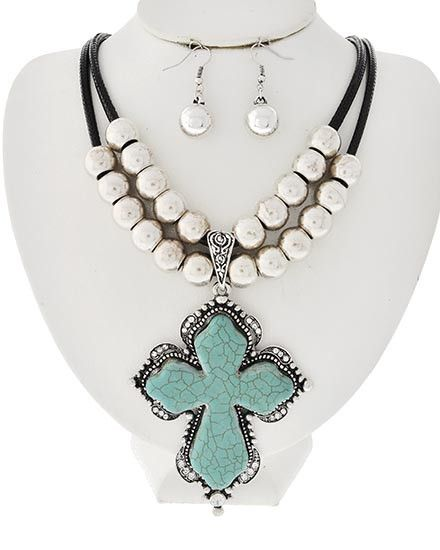 46 best cross jewelry images on pinterest cross jewelry jewelry this is a gorgeous western style chunky turquoise stone cross pendant necklace with crystal clear rhinestone around ite chain has large ccb silver tone aloadofball Choice Image