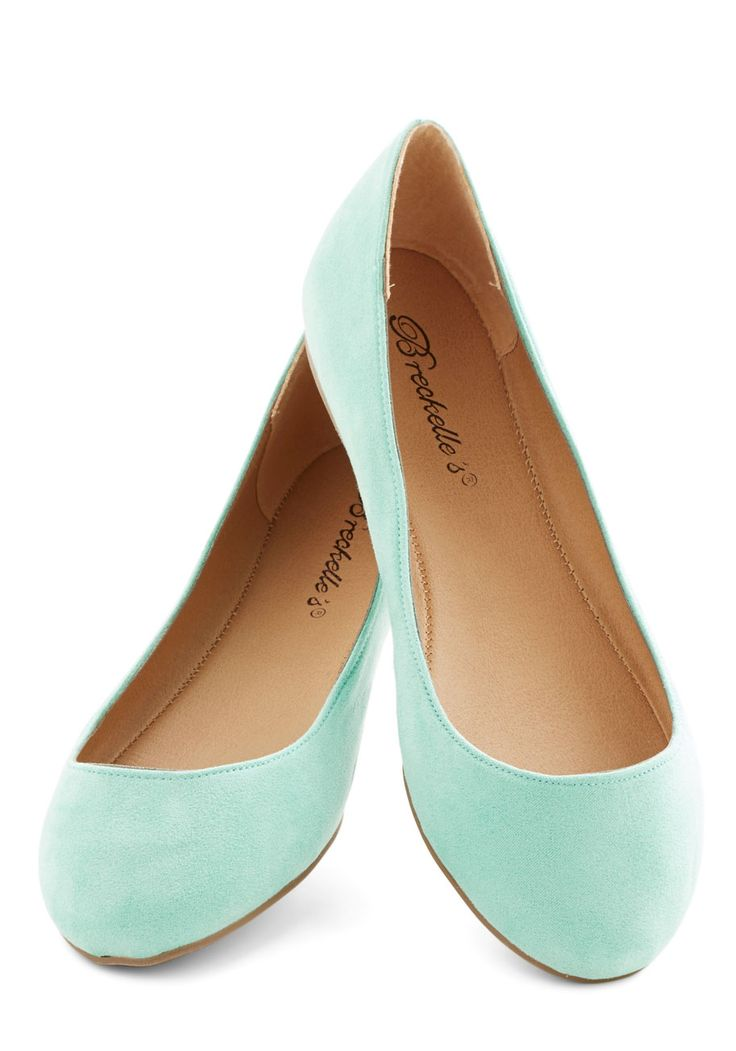 Pop, Skip, and a Jump Flat in Mint. Add a pop of fresh color to every step you take with these mint-green flats! #mint #modcloth