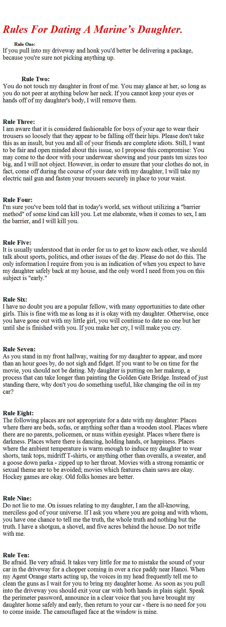 Rules for dating a marine daughter. hazlo bien con david rees latino dating.