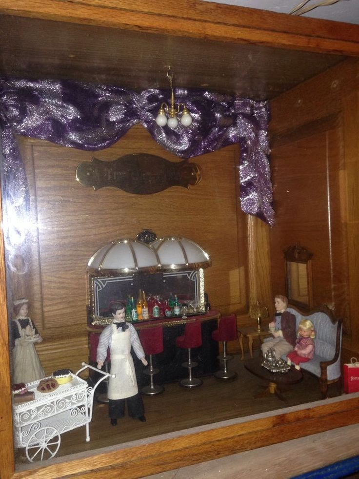 Antique Diahrama Shadow Box Doll House Restaurant Dining Room Art