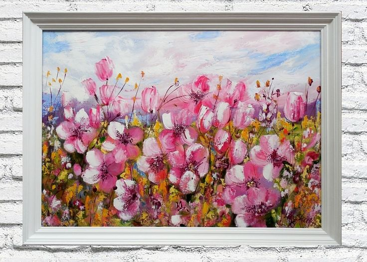 oil on canvas ,spring meadow, size 50x70