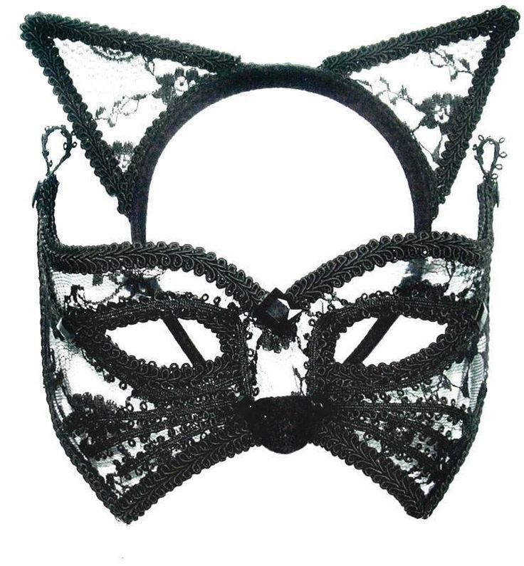 CAT MASK & EARS, MASQUERADE EYE MASK, HALLOWEEN FANCY DRESS, CATWOMAN