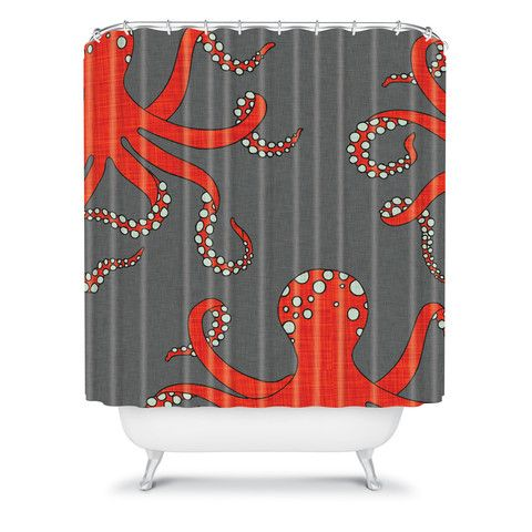 DENY Designs Home Accessories | Holli Zollinger Octopus Red Shower Curtain   Aidanu0027s Bathroom