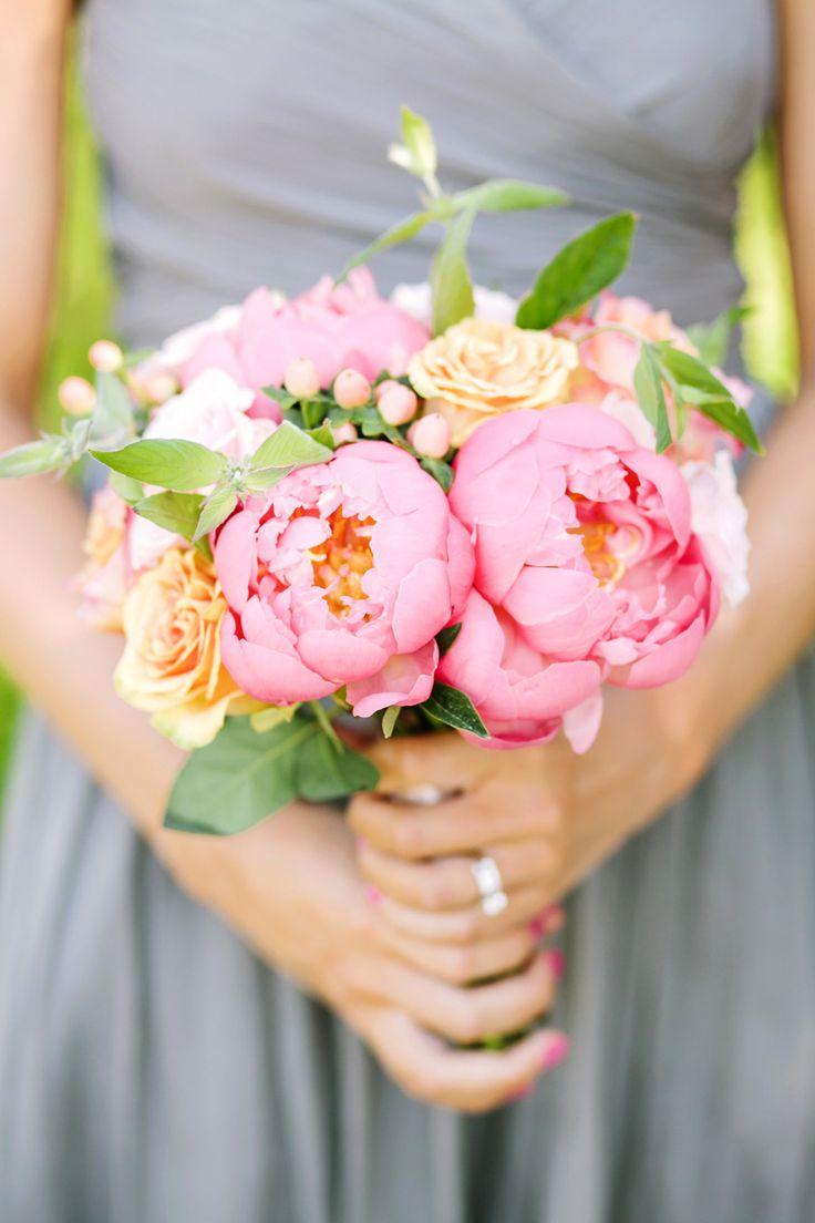 Peony Bouquet for Bridesmaids | See more on SMP: http://www.StyleMePretty.com/new-england-weddings/2014/03/12/tented-garden-wedding-in-westbrook-connecticut/ Photography: Tanya Salazar
