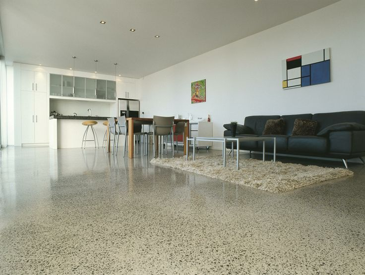 Honed floor with lighter colour brings light and airy feel - more at www.peterfell.co.nz