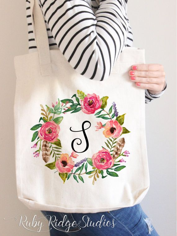 Personalised Watercolour Floral Wreath Monogram Tote Bag IMPORTANT NOTE: My supplier is currently out of stock of the American Apparel tote