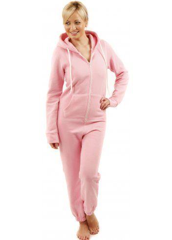 Designer Desirables Pink Fleece Hooded Onesie With White Zip & Ties