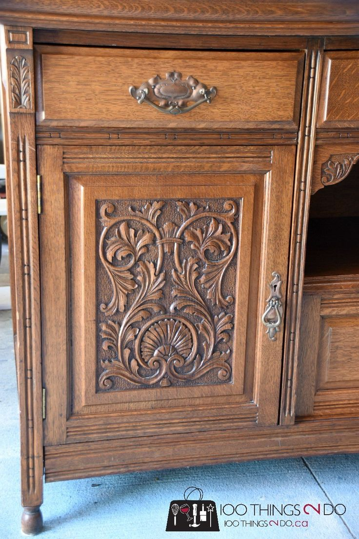 Antique glass flower carvings sideboard crown french furniture - Dining Room Buffet Sideboard Makeover With Smart Strip