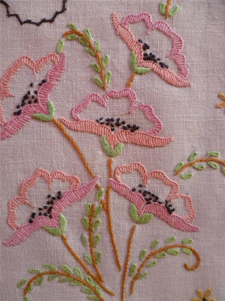 Delicate Poppies Vintage Hand Embroidered Centrepiece MAT   eBay