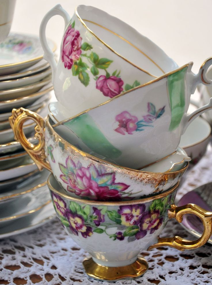 Antique tea cups at a tea party!