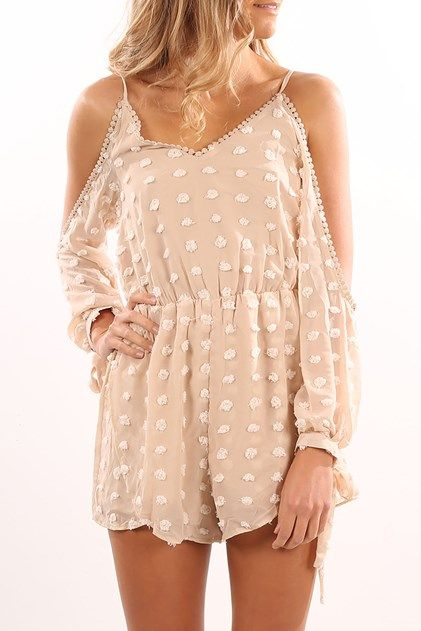 Yours Truly Playsuit Beige