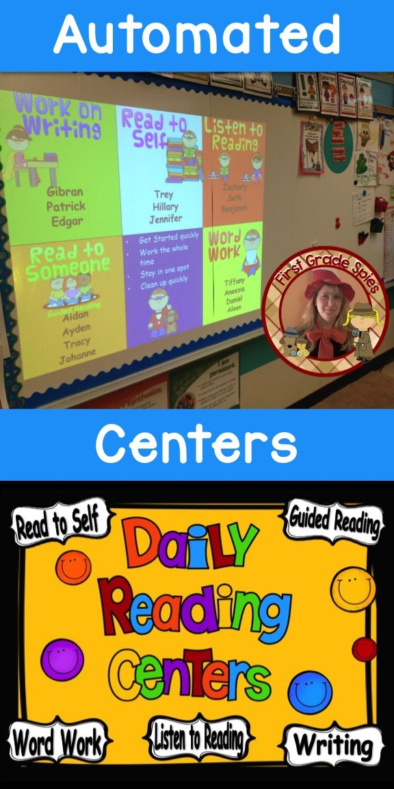 Tired of pocket charts? Try using your computer or smart board to completely automate your center rotations!!! It's editable!!! Simply type in your groups and use your projector to show the daily 5 center rotations and it changes groups after a set time!