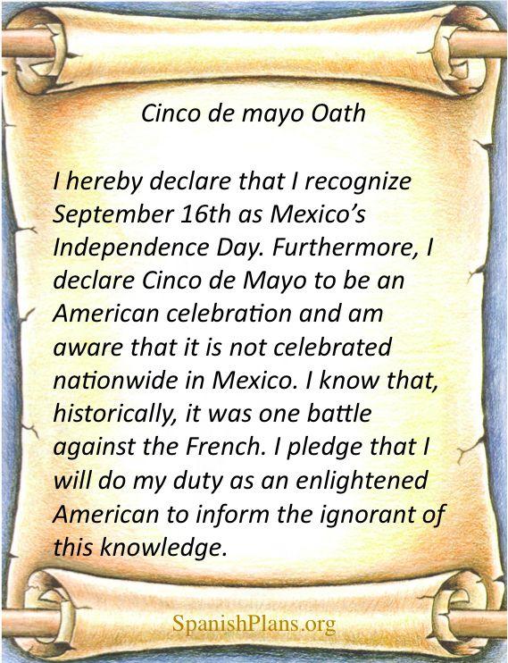 Cinco de Mayo Pledge via http://spanishplans.org/2012/05/04/cinco-de-mayo-pledge/