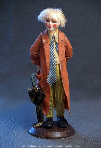 """Купить авторская кукла клоун """"Фокус-покус"""" - авторская кукла, клоун, заяц в шляпе"""